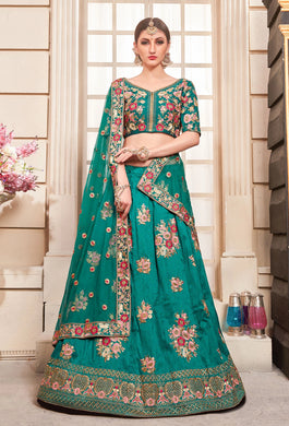 Entertaining Teal Green Phantom Silk Embroidered Work With Kaizen Look Lahenga Choli