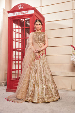 Covetousness Salmon Pink Thai Silk Metallic Foil & Hand Work With Desire Style Lahenga Choli