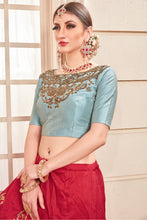 Load image into Gallery viewer, Scintillating Cherry Red Thai Silk Metallic Foil & Hand Work With Informal Lahenga Choli