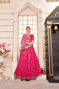 Statuesque Flossy Pink Phantom Silk Embroidered Work With Engaging Lahenga Choli