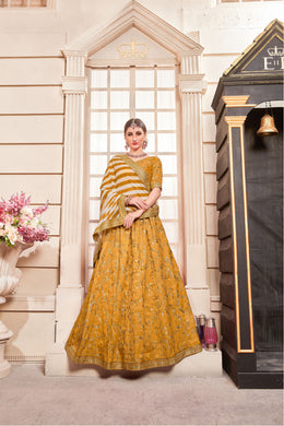 Sweet Heart Japtin Canary Yellow Phantom Silk Embroidered Work With Lovable Lahenga Choli
