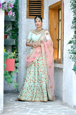 Gladdened Mint Green Silk Embroidered Work With Overjoyed Look Lahenga Choli