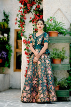 Load image into Gallery viewer, Contentment Teal Green Satin Silk Embroidered Work With Ecstasy Designer Lahenga Choli