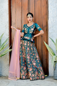 Contentment Teal Green Satin Silk Embroidered Work With Ecstasy Designer Lahenga Choli