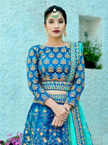 Irreproachable Harbour Blue Silk Embroidered Work With Immaculate Lahenga Choli