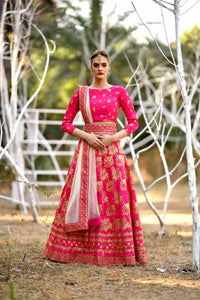 Pleasantly Surprised Deep Pink Silk Embroidered Work With Jordan Lahenga Choli