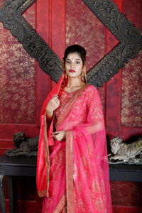 Passionate Dark Pink Silk Embroidered Work With  stylist Satisfaction Lahenga Choli