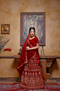 Marvelous Correct Maroon Velvet Embroidered Work With High-grade Lahenga Choli