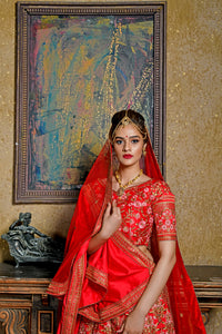 Paradigmatic Charming Red Silk Embroidered Work With Gorgeous Lahenga Choli
