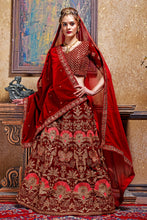Load image into Gallery viewer, Warm-blooded Maroon Velvet Embroidered Work With Saccharine Lahenga Choli