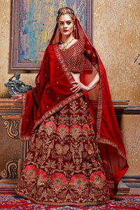 Warm-blooded Maroon Velvet Embroidered Work With Saccharine Lahenga Choli