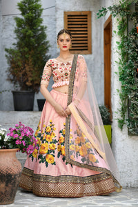 Attractiveness Peach Silk Sequence Embroidered & Digital Print Work With Excellent Lahenga Choli