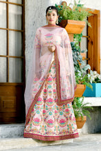 Load image into Gallery viewer, Magnificent Decent Peach Silk Sequence Embroidered Work With Lovely Lahenga Choli