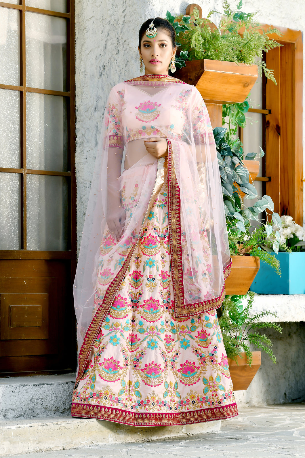 Magnificent Decent Peach Silk Sequence Embroidered Work With Lovely Lahenga Choli