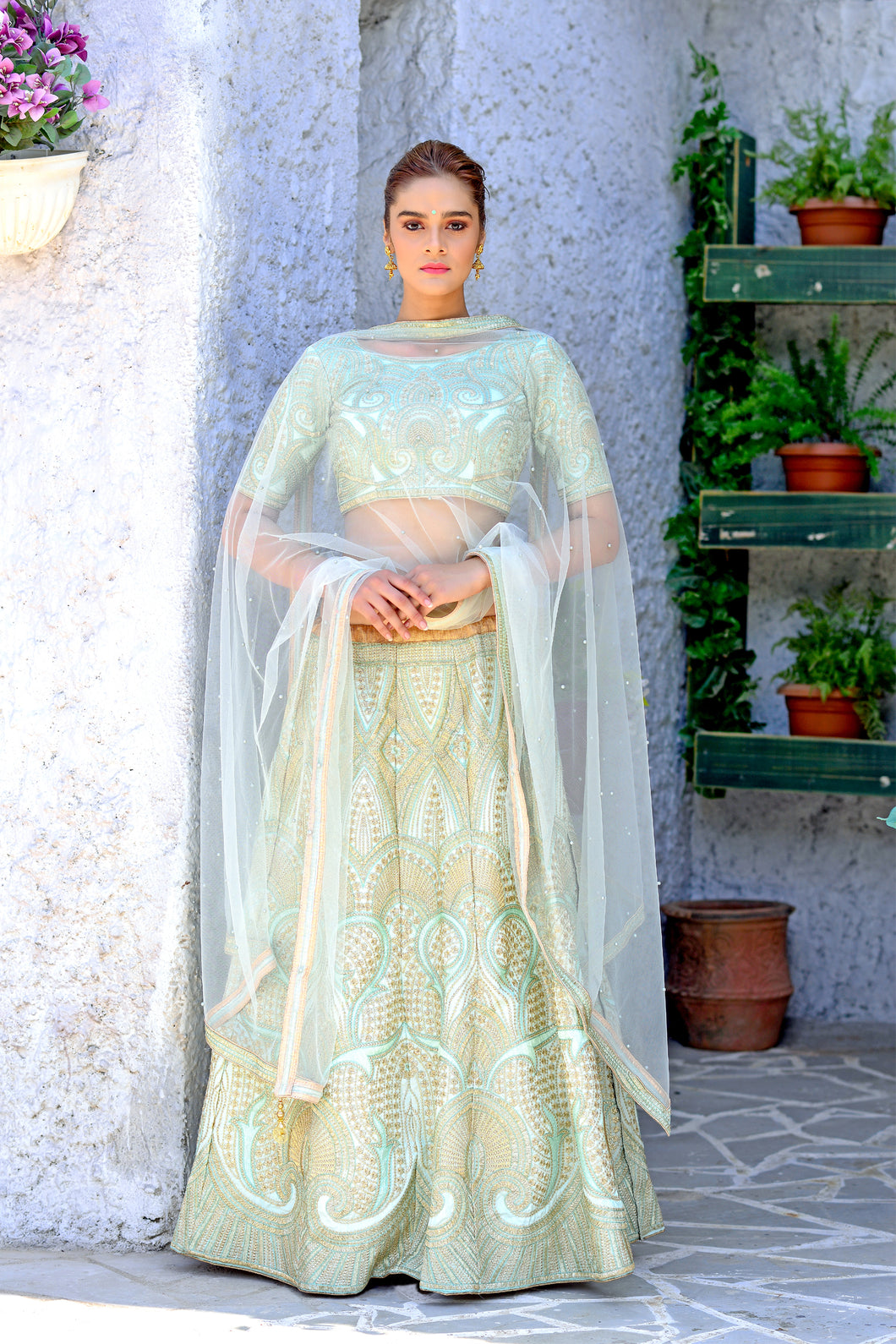 Appearance Groovy Mint Green Silk Sequence Embroidered Work With Sightly Lahenga Choli