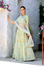 Load image into Gallery viewer, Appearance Groovy Mint Green Silk Sequence Embroidered Work With Sightly Lahenga Choli