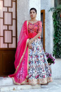 Symmetrical Fine Multi Color Silk Sequence Embroidered & Digital Print Work Nice Lahenga Choli
