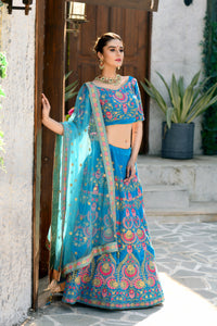 Statuesque Refined Sky Blue Velvet Sequence Embroidered Work With Pleasing Lehenga Choli