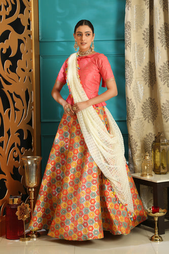Decalescent Pink Jacquard Silk Embroidered Sequence Work With Awesome Lahenga Choli