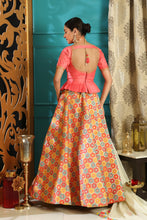 Load image into Gallery viewer, Decalescent Pink Jacquard Silk Embroidered Sequence Work With Awesome Lahenga Choli