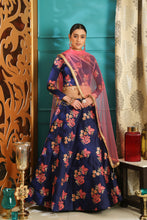Load image into Gallery viewer, Scorching Navy Blue Jacquard Silk Pearl Lace & Jacquard Work With Blazing Lahenga Choli
