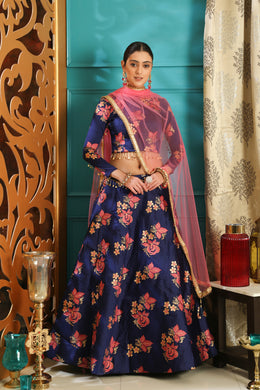 Scorching Navy Blue Jacquard Silk Pearl Lace & Jacquard Work With Blazing Lahenga Choli