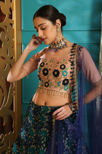 Thermogenic Multi Jacquard Silk Embroidered Sequence Work With Excellent Lahenga Choli