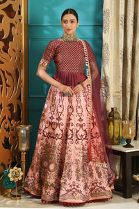 Quintessential Maroon & Pink Silk Embroidered Sequence Work With  inflamed Lahenga Choli