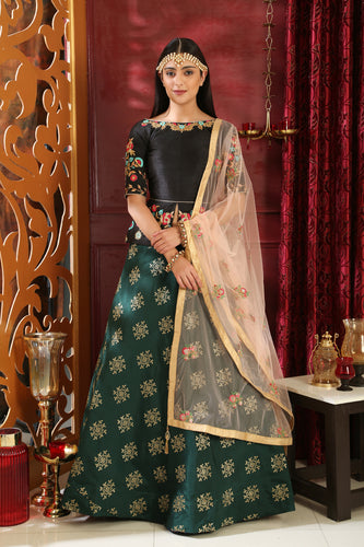 Demonstrative Black & Green Jacquard Silk Embroidered Sequence Work With Obsessed Lahenga Choli