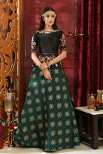 Load image into Gallery viewer, Demonstrative Black & Green Jacquard Silk Embroidered Sequence Work With Obsessed Lahenga Choli