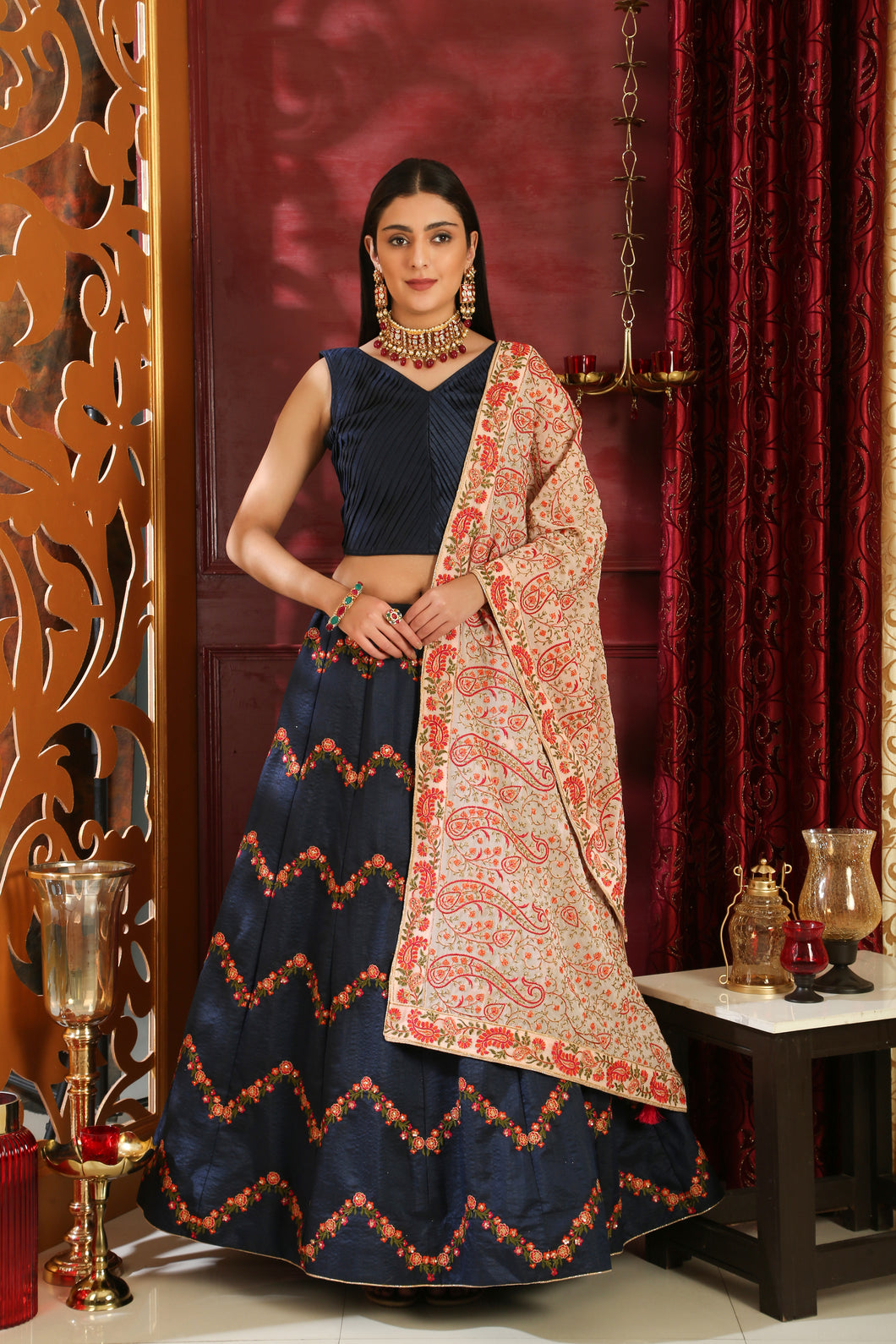 Incandescent Navy Blue Silk Embroidered Sequence Work With Blistering Lahenga Choli