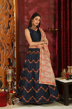 Load image into Gallery viewer, Incandescent Navy Blue Silk Embroidered Sequence Work With Blistering Lahenga Choli