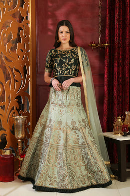 Impassioned  green Silk Resham Embroidered Work With  hantasmal Lahenga Choli