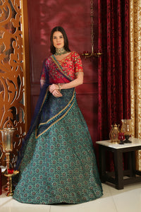 Metaphysical Multi Jacquard Silk Embroidered Sequence Work With Archetypal Lahenga Choli
