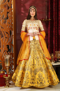 Super Heated White & Yellow Silk Embroidered Sequence Work With Prototypical Lahenga Choli