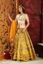 Load image into Gallery viewer, Super Heated White & Yellow Silk Embroidered Sequence Work With Prototypical Lahenga Choli