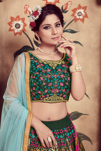Seductive Dark Green Silk Cutdana & Resham Embroidery Work With Winning Lehenga Choli