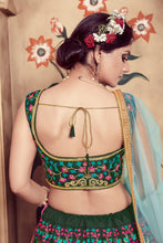 Load image into Gallery viewer, Seductive Dark Green Silk Cutdana & Resham Embroidery Work With Winning Lehenga Choli