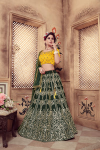 Irresistible Dark Green Silk Cutdana & Coding Dori Embroidery Work With Divine Lehenga Choli