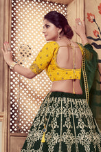 Load image into Gallery viewer, Irresistible Dark Green Silk Cutdana & Coding Dori Embroidery Work With Divine Lehenga Choli