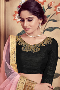 Scintillating Black Silk Cutdana & Sequences Hand Embroidered Work With Cuteness Lehenga Choli