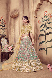 Resplendent Beige Silk Pearl Coding & Stone Embroidered Work With Shapely Lehenga Choli
