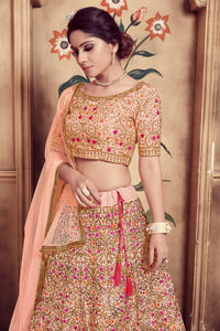 Magnificent Peach Silk Cutdana & Resham Embroidery Work With Delightful Lehenga Choli
