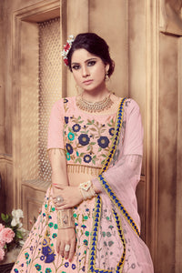 Marvelous Dusty Pink Silk Zari & Sequences Embroidered Work With Charming Lehenga Choli