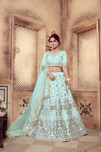 Eye-Catching Turquoise Silk Fancy Sequences & Zari Embroidery Work With Superb Lehenga Choli