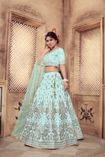 Load image into Gallery viewer, Eye-Catching Turquoise Silk Fancy Sequences & Zari Embroidery Work With Superb Lehenga Choli