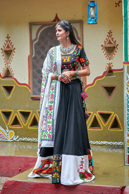 Satisfactorily Black Soft Cotton Resham Ari Embroidered & Real Mirror Work With Lahenga Choli