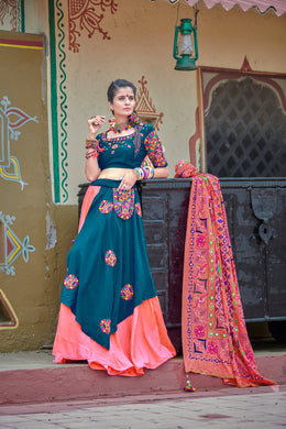 Teal Blue Soft Cotton Resham Ari Embroidered & Real Mirror Work With Superb Lahenga Choli