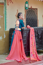 Load image into Gallery viewer, Teal Blue Soft Cotton Resham Ari Embroidered & Real Mirror Work With Superb Lahenga Choli