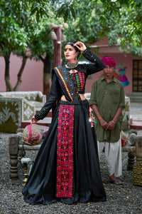 Bootylicious Black Soft Cotton Resham Ari Embroidered & Real Mirror Work With Lehenga Choli